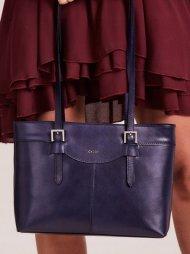 Kožená dámská kabelka přes rameno modrá