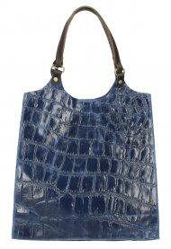 Kožená velká dámská kabelka Ginevra modrá