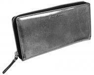 Pierre Andreus Černá metalická dámská kožená peněženka RFID v dárkové krabičce