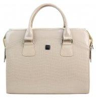 PUNCE LC-01 béžová lakovaná dámská kabelka pro notebook do 15.6 palce