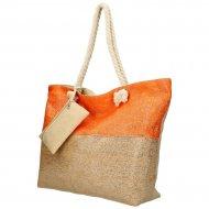 Velká plážová taška oranžovo-zlatá se zlatou nití B6806