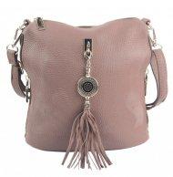 Malá crossbody dámská kabelka s bočními kapsami 4905-BB starorůžová