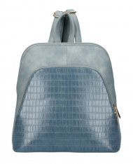 Džínově modrý dámský módní batůžek v kroko designu AM0106