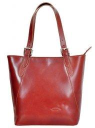 Velká hnědá kožená dámská kabelka přes rameno L Artigiano