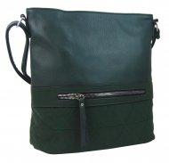 Větší crossbody dámská kabelka zelená s čelní kapsou NH8101