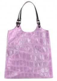 Kožená velká dámská kabelka Ginevra lila fialová
