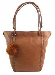 Velká hnědá dámská kabelka přes rameno s bambulkou 5136-BB