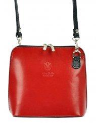Kožená malá dámská crossbody kabelka červená s černým páskem