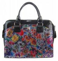 PUNCE LC-01 luxusní černá dámská kabelka se stříbrnými kvítky pro notebook do 15.6 palce