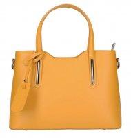 Kožená hořčicově žlutá dámská kabelka do ruky Maila