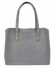 Kožená světle šedá dámská kabelka do ruky Florencie