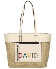 DAVID JONES Krémová velká dámská kabelka přes rameno CM5741