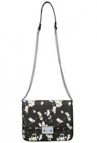 Crossbody dámská kabelka na řetízku v květovaném motivu XS7033 černá