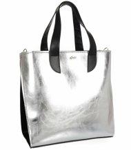Velká stříbrná dámská kabelka do ruky i na rameno S777 GROSSO