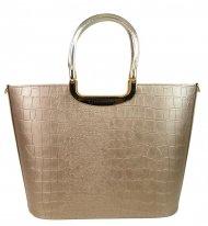 Elegantní zlatá kroko kabelka do ruky S7 GROSSO