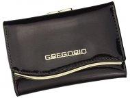 Gregorio tmavě hnědá lakovaná malá dámská kožená peněženka v dárkové krabičce ZLF-117