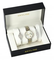 SKYLINE dámská dárková sada stříbrno-zlaté hodinky s náramky SM0014