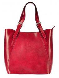 Velká červená kožená dámská kabelka Florence přes rameno