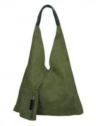 Kožená velká dámská kabelka Alma khaki zelená