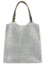 Kožená velká dámská kabelka Ginevra šedá