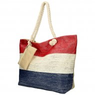 Velká plážová taška červeno-krémovo-modrá se stříbrnou nití B6806