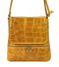 Kožená dámská crossbody kabelka v kroko designu Camel hnědá