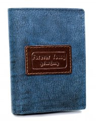 Kožená modrá pánská peněženka RFID v krabičce Forever Young