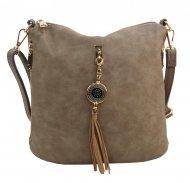 Crossbody dámská kabelka s bočními kapsami 2494-BB přírodní hnědá
