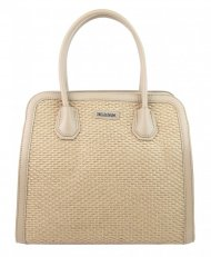 Béžová dámská kabelka do ruky v proplétaném stylu 4490-TS