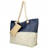 Velká plážová taška modro-krémová se stříbrnou nití B6806