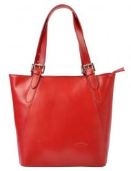 Velká červená kožená dámská kabelka přes rameno L Artigiano