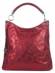 Moderní velká metalická kabelka přes rameno 665-MH červená