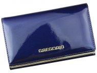 Gregorio modrá lakovaná dámská kožená peněženka v dárkové krabičce