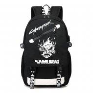 Cyberpunk svítící černý studentský batoh, USB port