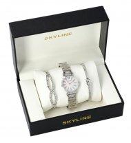 SKYLINE dámská dárková sada stříbrné hodinky s náramky SM0020