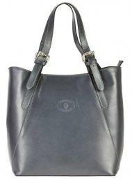 Velká šedá kožená dámská kabelka přes rameno