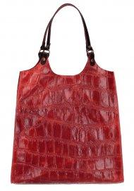 Kožená velká dámská kabelka Ginevra červená