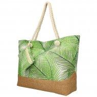 Velká plážová taška se zelenými lístky B6804