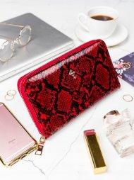 Praktická dámská zipová červená hadí peněženka v dárkové krabičce