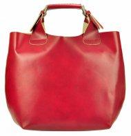 Velká červená kožená dámská shopper kabelka