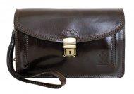 Tmavě hnědá kožená pánská dokladová taška / etue Vera Pelle