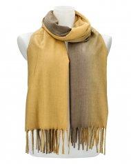 Žíhaná žlutošedá teplá dlouhá zimní šála 200x65 cm