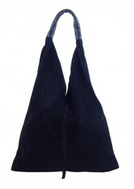 Kožená velká dámská kabelka Alma nejtmavější modrá