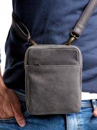 WILD Kožená pánská crossbody taška tmavě šedá 16x20x7 cm