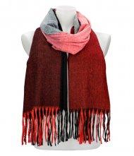 Barevná červená teplá dlouhá zimní šála 207x65 cm