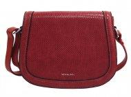 Tmavší červená oblá crossbody dámská kabelka v hadím designu NEW BERRY