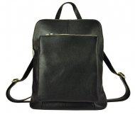 Kožený dámský módní batůžek s čelní kapsou Patrizia Piu černý