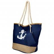 Velká modrá plážová taška s kotvou přes rameno 51383