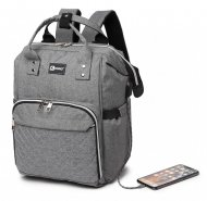 KONO Šedý batoh pro maminky s USB portem vhodný i na kočárek LU-6705USB GY