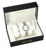 SKYLINE dámská dárková sada stříbrné hodinky s náramky SM0016
